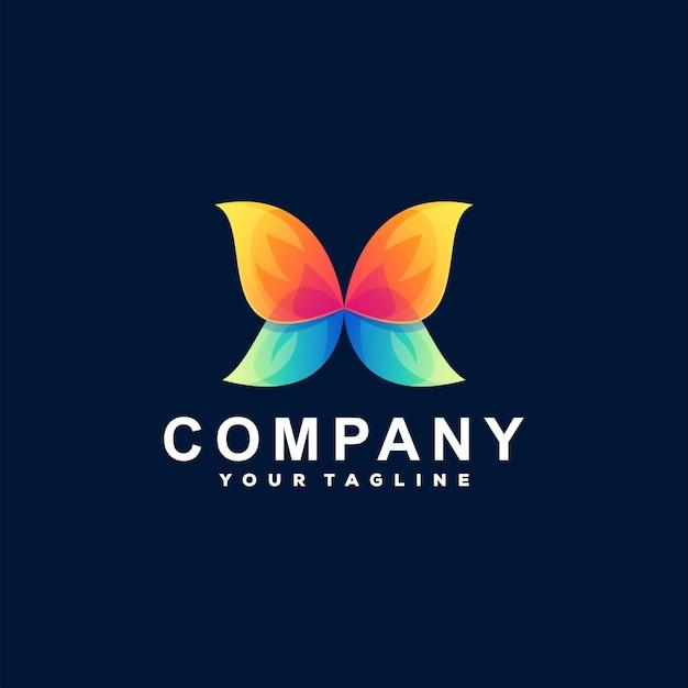 Logotipo gradiente de cor de borboleta