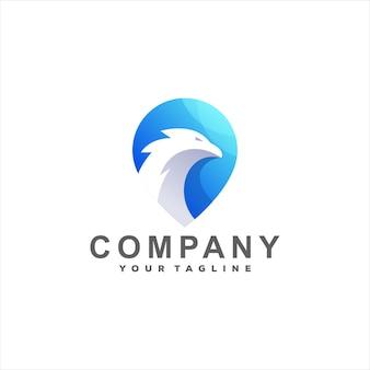 Logotipo gradiente de cor de pássaro