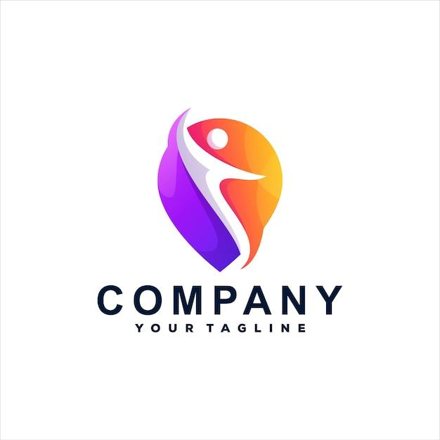 Logotipo gradiente de cores de pessoas