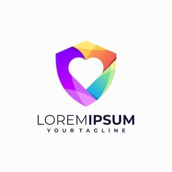 Logotipo gradiente de escudo amoroso