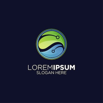 Logotipo gradiente de folha de biotecnologia