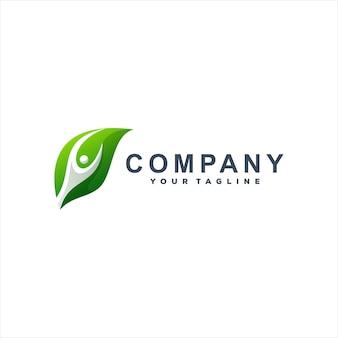 Logotipo gradiente de folha verde