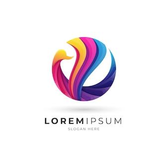 Logotipo gradiente de ganso abstrato