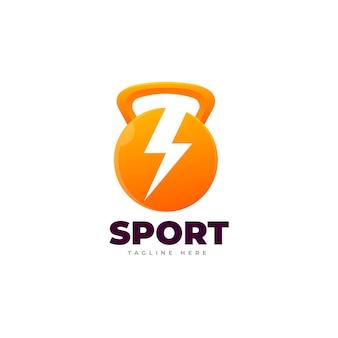 Logotipo gradiente de gym kettlebell