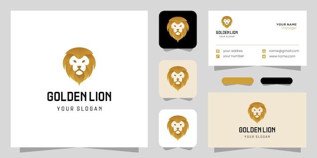 Logotipo gradiente de leão dourado e cartão de visita