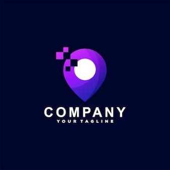 Logotipo gradiente de localização digital