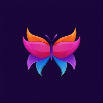 Logotipo gradiente de luxo borboleta