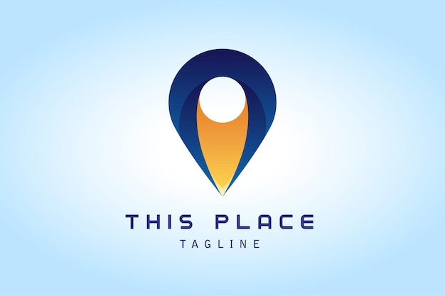 Logotipo gradiente de mapa de pino azul escuro amarelo