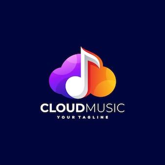 Logotipo gradiente de música na nuvem