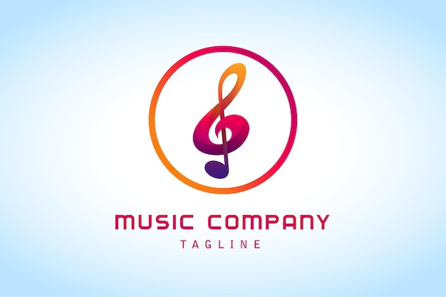 Logotipo gradiente de notas musicais coloridas para gravadora