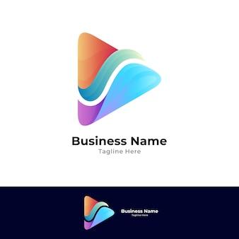 Logotipo gradiente de reprodução de mídia