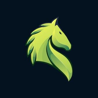 Logotipo gradiente do cavalo da folha