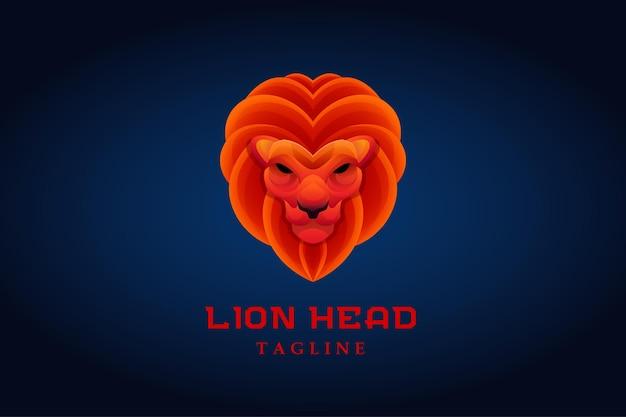 Logotipo gradiente do mascote com cabeça de leão laranja vermelha