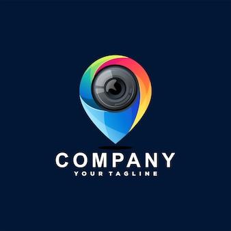 Logotipo gradiente do pino da câmera