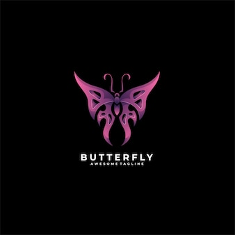 Logotipo gradiente geométrico da borboleta.
