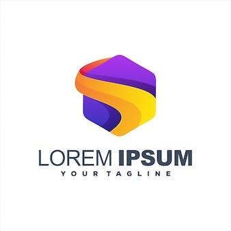Logotipo gradiente incrível hexágono