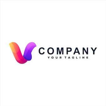 Logotipo gradiente letra v