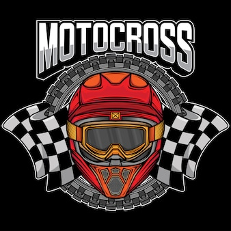 Logotipo gráfico de capacete de motocross