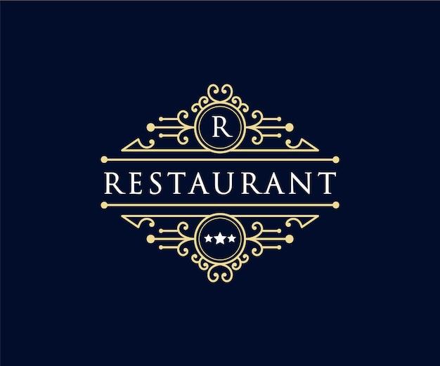 Logotipo heráldico de luxo retrô vintage com moldura ornamental para hotel café, cafeteria e restaurante