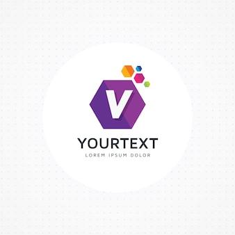 Logotipo hexagonal letra v criativo