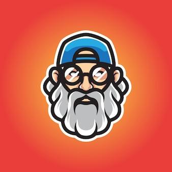 Logotipo hipster man head mascot