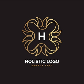 Logotipo holístico dourado detalhado
