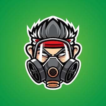 Logotipo homem com máscara de gás