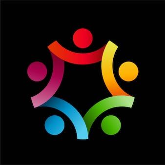 Logotipo humano abstrato colorfull
