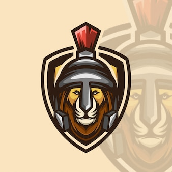Logotipo ícone guerreiro leão esports