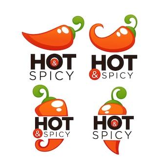 Logotipo, ícones e emblemas de pimenta picante e apimentada, com composição de letras