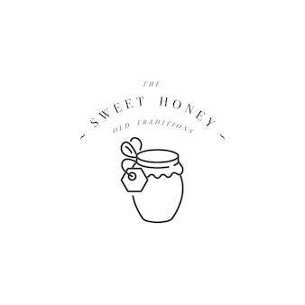 Logotipo illustartion e modelo ou crachá. rótulo de mel orgânico e ecológico - garrafa de mel. estilo linear.
