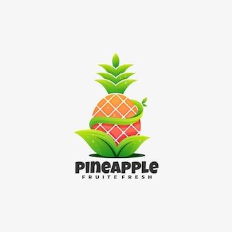 Logotipo ilustração abacaxi gradiente estilo colorido.