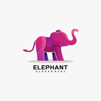 Logotipo ilustração elefante gradiente estilo colorido.