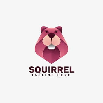 Logotipo ilustração esquilo gradiente estilo colorido.