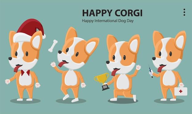 Logotipo ilustração estilo roupa humana papel de parede moda corgi cão animal de estimação filhote de cachorro osso natal