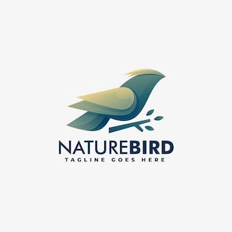 Logotipo ilustração natureza pássaro gradiente estilo colorido.