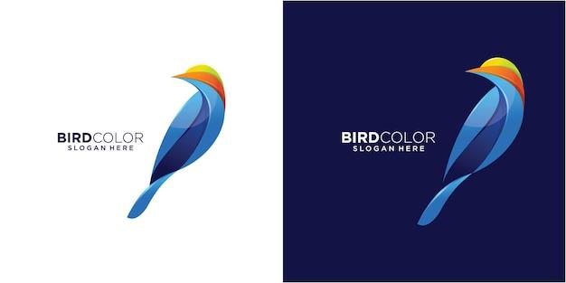 Logotipo ilustração pássaro colorido estilo