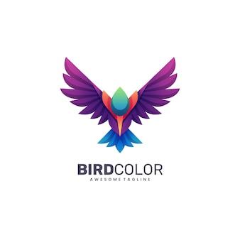 Logotipo ilustração pássaro cor gradiente estilo colorido.