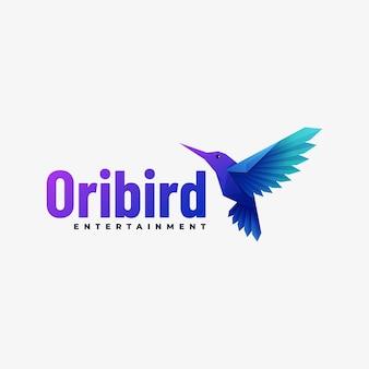 Logotipo ilustração pássaro gradiente estilo colorido.