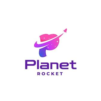 Logotipo ilustração planeta gradiente estilo colorido.