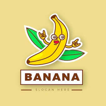 Logotipo ilustrado de personagem de banana