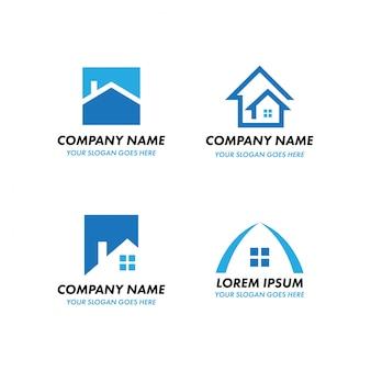 Logotipo imobiliário, construção de casa empresa de resíduos residenciais