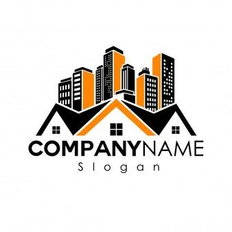 Logotipo imobiliário moderno com casa e edifícios