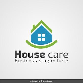 Logotipo imobiliário verde e azul