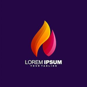 Logotipo impressionante chama gradiente