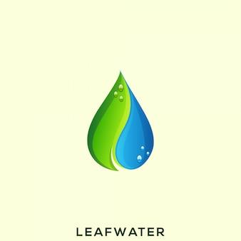 Logotipo impressionante da água da folha