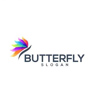 Logotipo impressionante da cor da borboleta