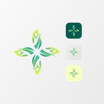 Logotipo impressionante da vida da folha