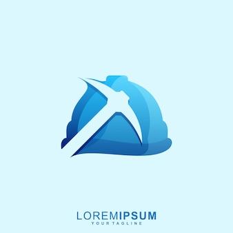 Logotipo impressionante do capacete de mineração