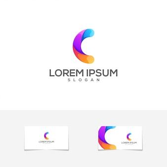 Logotipo impressionante do cartão de visita da cor c